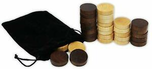 Wooden Backgammon Checkers Pieces 30 Replacement Game Chips Cloth Storage1.5 In