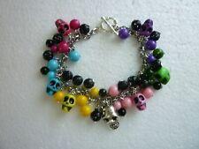 *Stainless Steel Charm Bracelet Halloween Multi Color Acrylic Skulls/Glass Beads