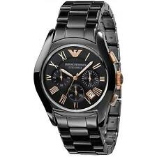 NEW EMPORIO ARMANI AR1410 CERAMICA ROSE GOLD BLACK ROSE MEN'S WATCH UK