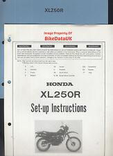 Genuine Honda XL250R (1982-on) Dealership Set-Up Manual XL 250 R MD03 (not-RFVC)