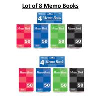"Lot of 8 Memo Books, 50 Sheets 3"" X 5"" Top Bound Spiral Memo Books - US SHIP"