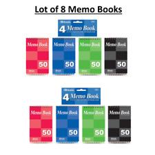 Lot Of 8 Memo Books 50 Sheets 3 X 5 Top Bound Spiral Memo Books