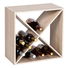 New listing 16 Bottles Holder Wine Rack Solid Wood Stackable Storage Cube Tabletop Champagne