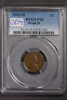 1922-D Lincoln Wheat 1C Small Cent - WEAK 'D' VARIETY ** PCGS F15 LOT#C854