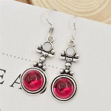 1pair Red Agate Artificial Gemstone Earrings Dangle Glass Ear Stud Women Jewelry