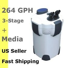 3 STAGE EXTERNAL CANISTER AQUARIUM FILTER SALT&FRESH OK 264 GPH w/ FILTER MEDIA
