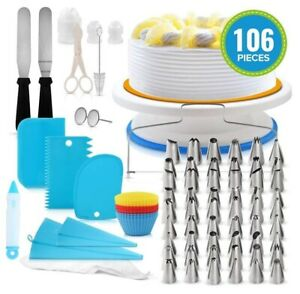 106pcs Cake Decorating Supplies Sets with Icing Tips Pastry Bags Icing Smoother