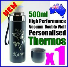 500ml Customised Personalised Thermos Drink Bottle + Logo Laser Engraved Etched
