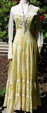 Vintage GUNNE SAX pale yellow floral full length gown 70s Edwardian Prairie