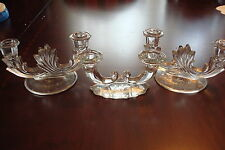 Fostoria Baroque Crystal Pair of Double Candle Holders and another piece