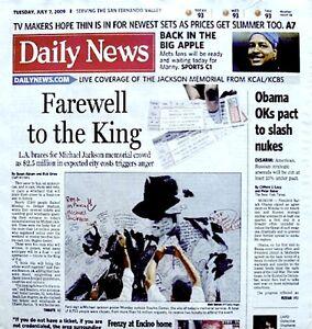 Michael Jackson Newspaper LA Daily News 2009 Tribute MJ Thriller King Of Pop