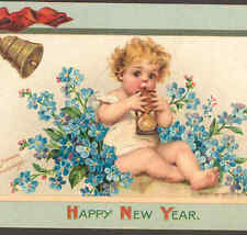 BRUNDAGE.. GORGEOUS NEW YEAR BABY TIME,HOURGLASS,FORGET-ME NOT FLOWERS, POSTCARD
