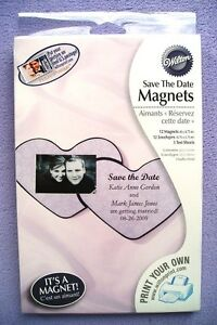 12 DIY Wilton Pink Heart Hearts Bridal Wedding Save The Date Magnet Magnets