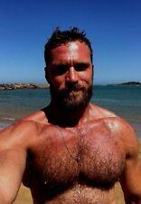 Shirtless Male Beefcake Muscular Hairy Chest Beard Beefy Hunk PHOTO 4X6 D513