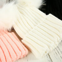 Winter Outdoor Women's Warm Chunky Knit With Double Fur Pom Cute Beanie Hats au