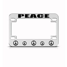 Metal Bike License Plate Frame Peace Sign Motorcycle Accessories Chrome