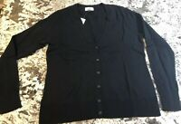 NWT WOMENS V-NECK BUTTON FRONT CARDIGAN BLACK SIZE SMALL