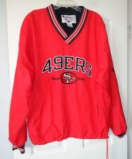 "CHAMPION San Francisco 49ers V Neck NYLON Pull Over Jacket Size XL 56"" CHEST"