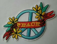 Peace Iron-on Patch Ban the Bomb Sign Hippie Boho Indy Logo Flowers Indy Symbol