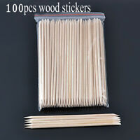 100Pcs Nail Art Orange Wood Sticks Cuticle Pusher Remover Pedicure Manicure Tool