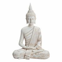 Buddha Figur Statue Dekofigur Feng Shui Garten Budda Skulptur sitzend Weiß 40 cm