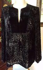 INC Rayon Silk Blend Black Velvet Burnt Floral Semi Sheer LS Shirt Top - sz 6