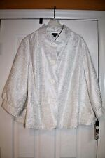 Mossimo Ivory White Silver Womens Jacket 3/4 Sleeves 28 W / 30W Plus New! $39.99