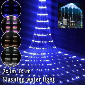 UK Christmas LED Waterfall Rain Fairy String Lights Outdoor Meteor Shower Lamps