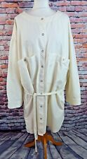 "COS shirt dress 40 14 UK bust 54"" cream oversize collarless tie belt 100% cotton"