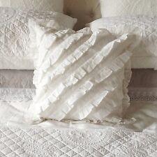 Frilly Ruffled Shabby Chic White Organdy Cushion 40cm x 40cm