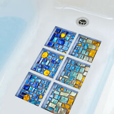 Us_ Di- Ft- Ju_ 6Pcs 3D Bath Tub Shower Mosaic Sticker Non Slip Applique Anti Sk