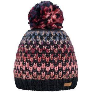 Womens Barts Nicole Bobble Pom Pom Knit Beanie Ski Hat Blue