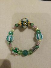 Beaded Stretch Bracelet Lilah Ann Beads Lampwork Czech Jade Agate Bali Green