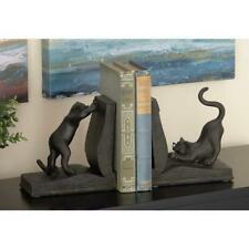 Black Polystone Reading Cat Bookends Pair Book Holder Home Office Shelves Decor