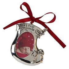 Baby`s First Christmas Bootie Ornament Photo Frame NEW  24487