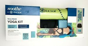 "Soothe by Gaiam To & From Yoga Kit w/Videos Lime/Teal 24""W x 68""L"