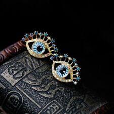 Elegant Women Gold Plated Blue Eye Ear Stud Crystal Rhinestone Earrings Jewelry