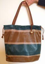 furla large shoulder fashion leather purse brown beige teal multicolor bag italy