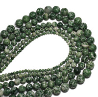 For Bracelet Jewelry DIY Lot Natural Green Dot Jade Stone Loose Beads 4 6 8 10mm