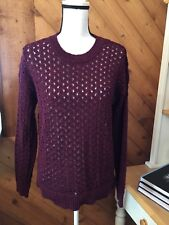 PRESWICK & MOORE Burgundy Black Open weave SWEATER Cotton Polyester size L