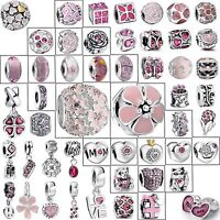 Silver Charms New Cute Pink Fashion Jewelry Fit Brand European 925 Bead Bracelet