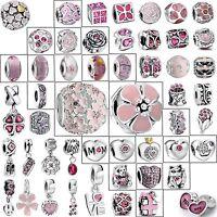 Cute Pink Charm Bead Fashion Jewelry Fit 925 Silver European Bracelets Chain Diy