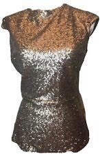 WD-NY Womens Formal Embelishment Seqin Short Sleeve Gold Metalic Fashion Top