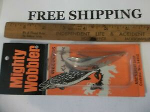 VINTAGE FISHING LURE SPOON MIGHTY WOBBLER TACKLE BOX FIND WEEDLESS LURE
