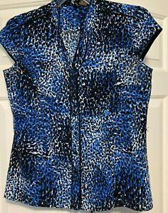 Women's Nue Options Blue Animal Print Sleeveless Button Shirt Top Blouse Size L