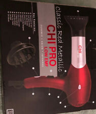 CHI Pro Classic Red Metallic Professional Hair Dryer w/ Diffuser & Concentrator