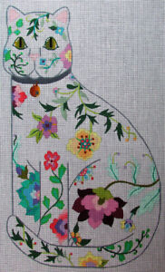HP Needlepoint 13ct DEDE'S Blooming Spring Floral Cat Standing(emb)-XW21