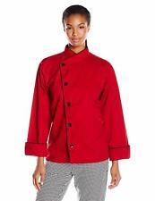 Uncommon Threads Women's Panama Chef Coat, Red/Black Piping, 2Xl