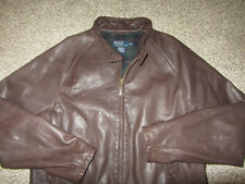 Polo by Ralph Lauren Brown Genuine 100% Leather Jacket Coat Plaid Lined Dress XL