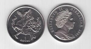 GIBRALTAR - 1 ROYAL UNC COIN 2001 YEAR KM#900 2 CHERUBS